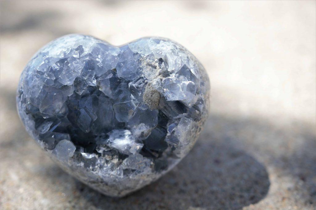 heart shaped celestite crystal
