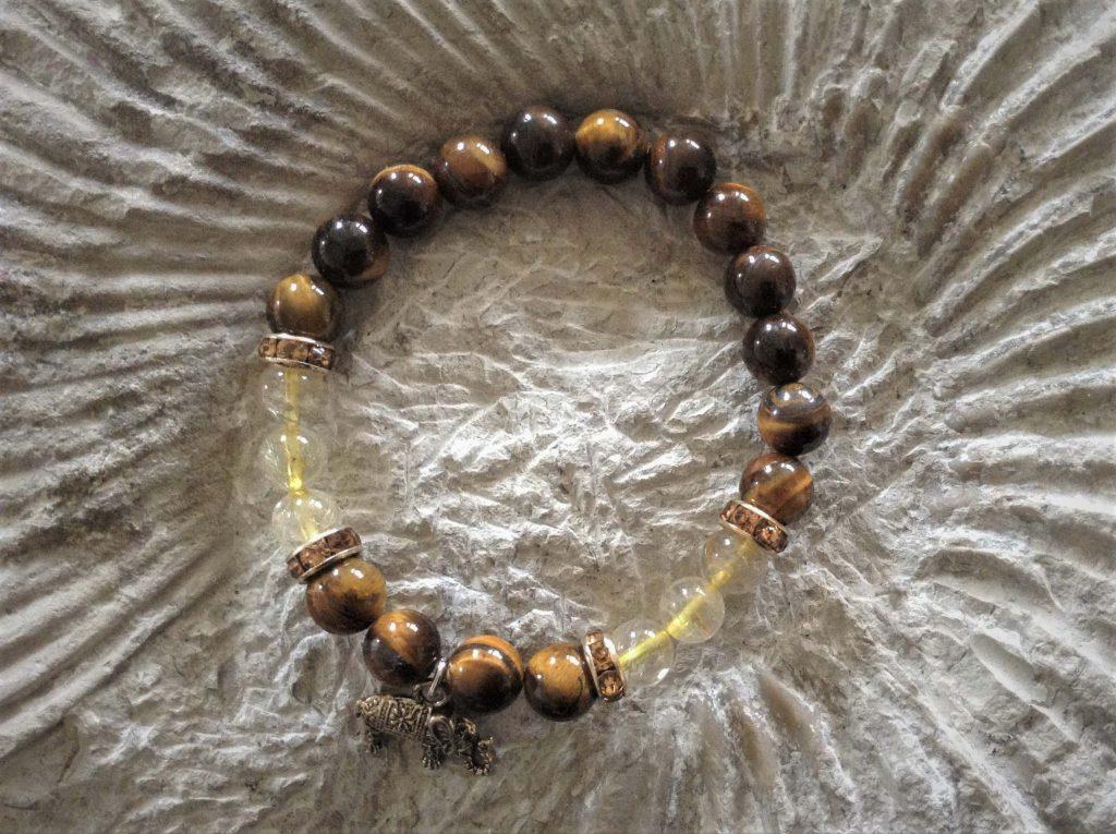 tiger eye and rutilated quartz bracelet