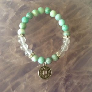 amazonite and clear quartz crystal bracelet