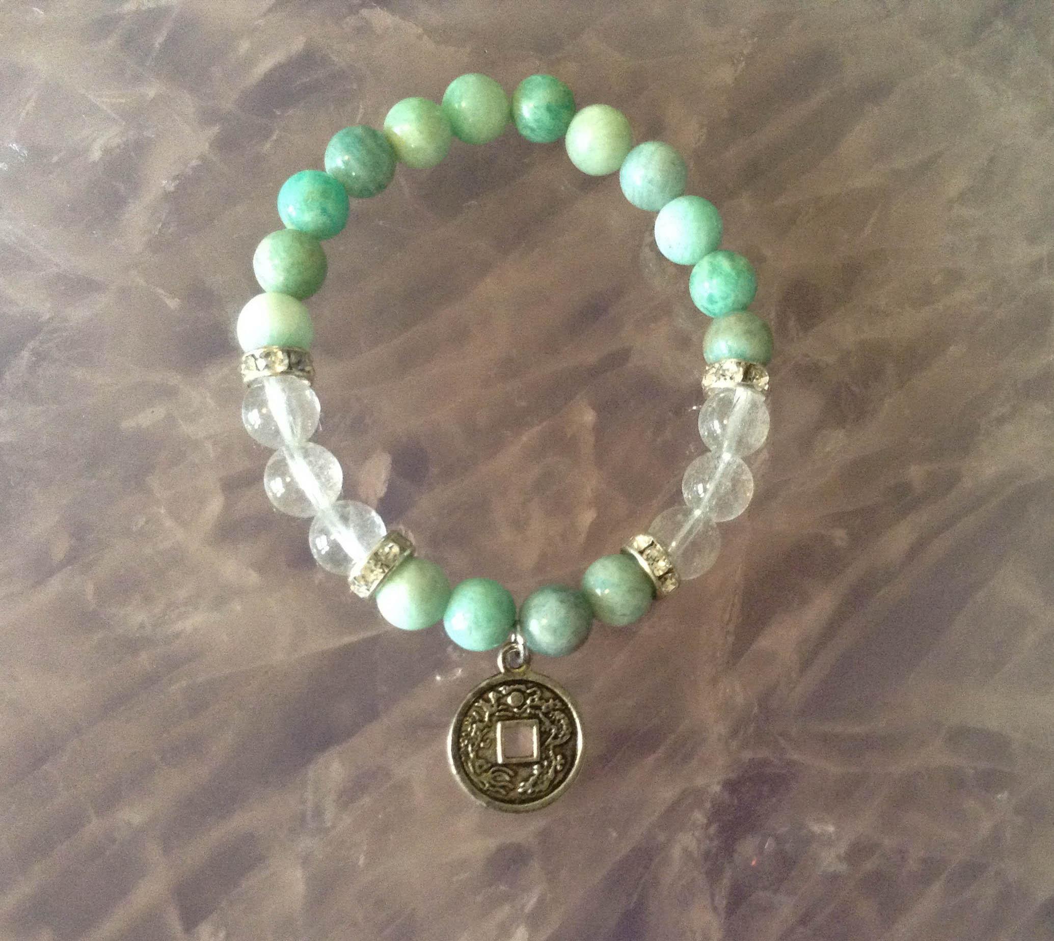 amazonite and clear quartz crystal bracelet