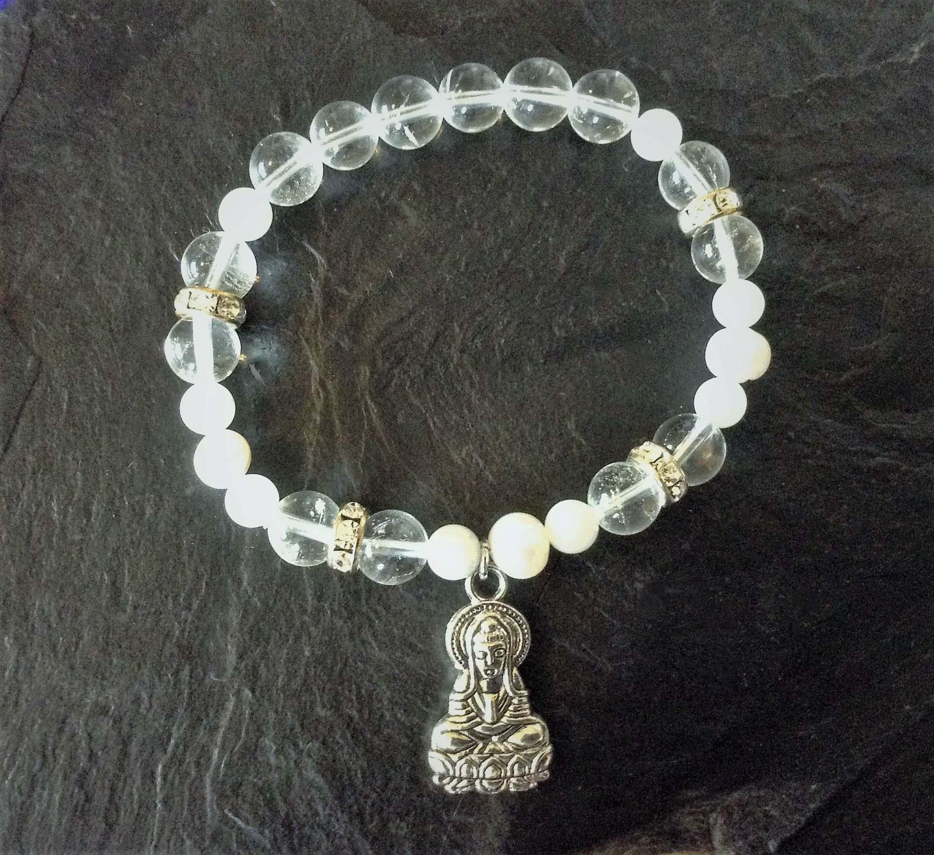 clear quarts rainbow moonstone and pearl bracelet