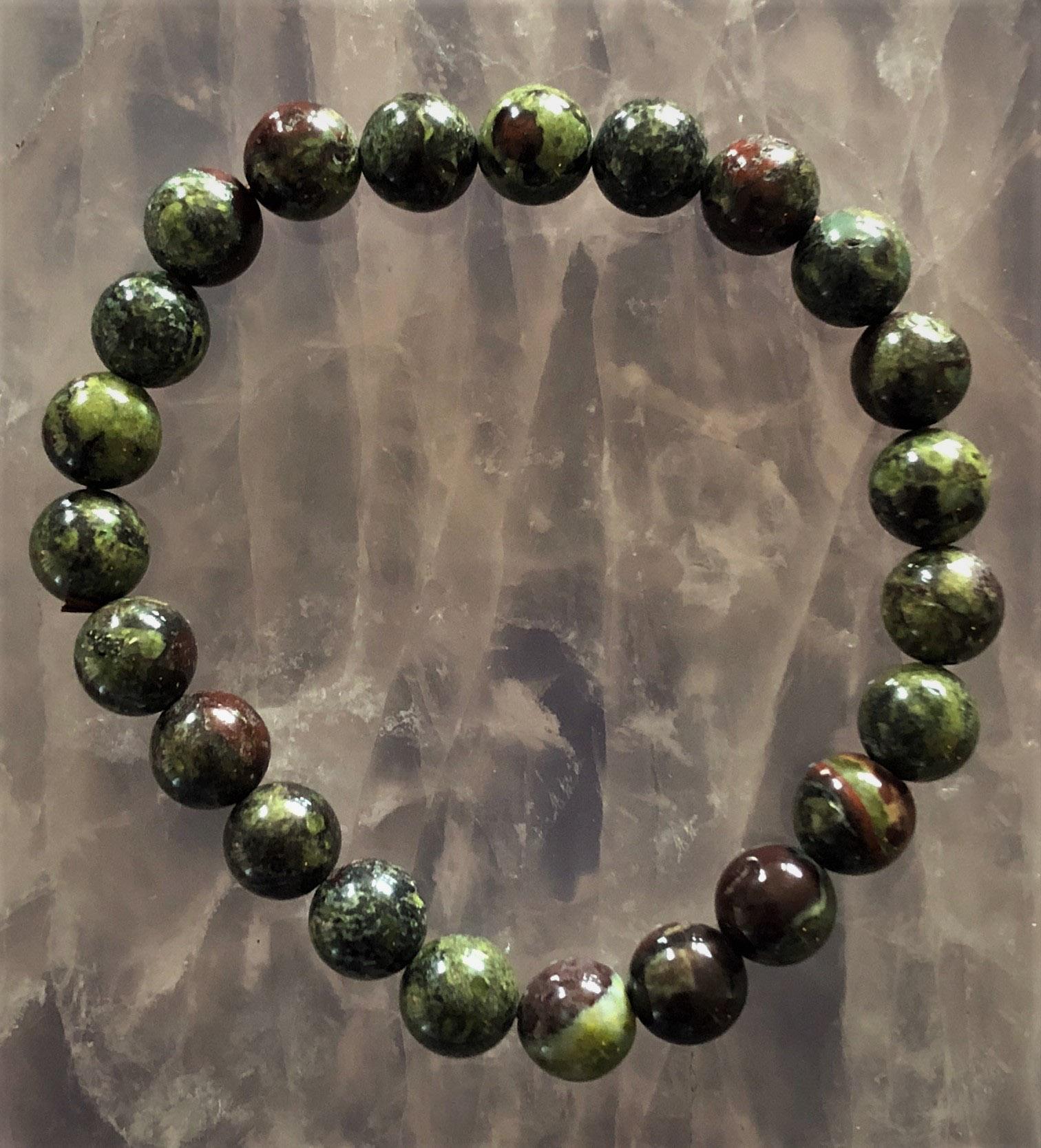 dragon skin quartz and bloodstone round bead bracelet