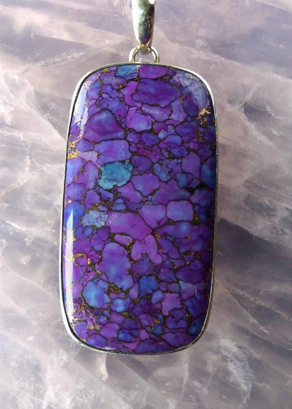 Purple Turquoise rectangle copper pendant