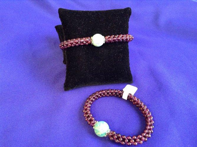 Garnet woven Amazonite Bracelet