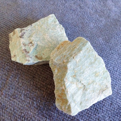 Two rough Amazonite crystals